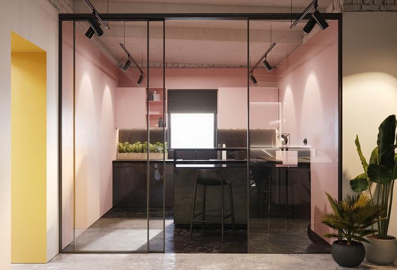BST Tủ bếp màu hồng mới lạ