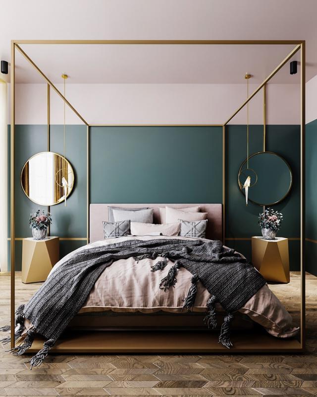 Thiết kế phòng ngủ với màu xanh ngọc nhẹ nhàng , cá tính