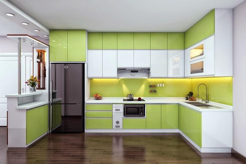Thiết kế tủ bếp cao đụng trần
