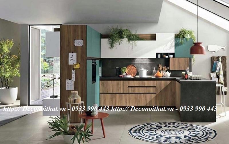 Thiết kế tủ kệ bếp bằng nhiều tông màu khác nhau