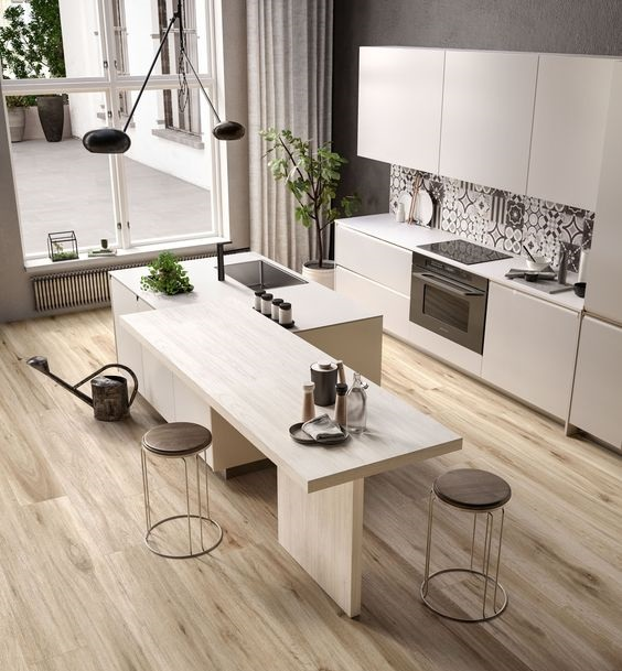 100 mẫu bàn đảo bếp đẹp bằng màu vân gỗ