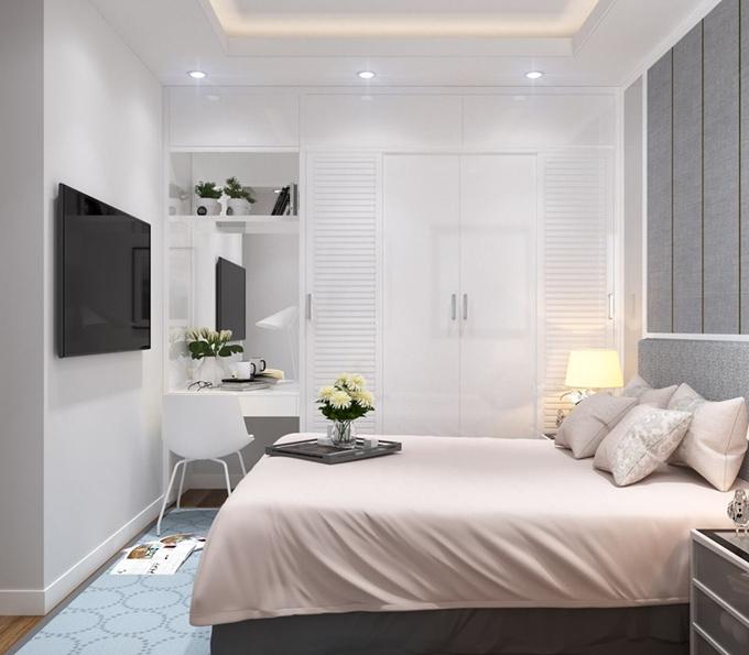 Nội thất của căn hộ được tối giản và sử dụng màu xanh bạc hà mát mắt trong nội thất phòng ngủ.