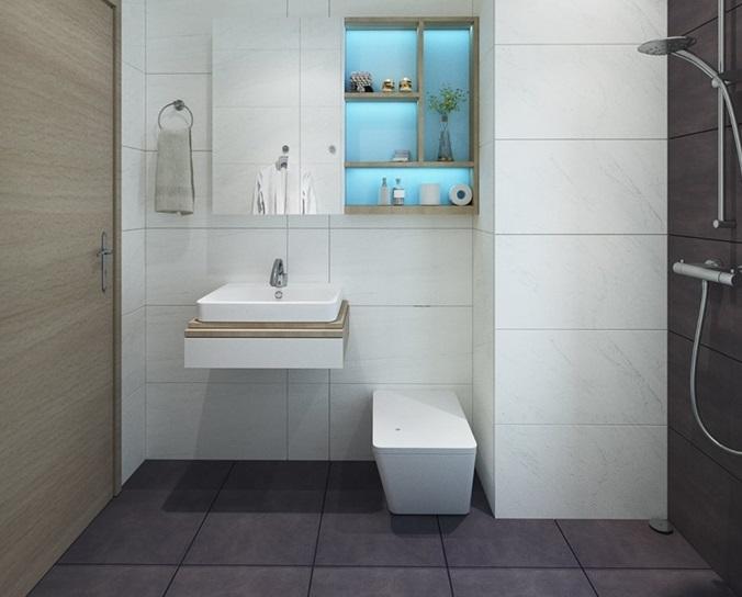 Thiết kế nội thất nhà tắm chung cư gọn gàng và xinh sắn