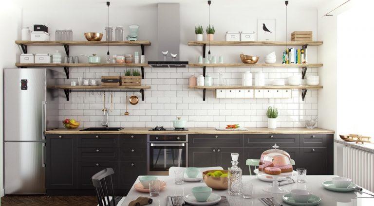 Thiết kế tủ bếp mở theo phong cách Scandinavia