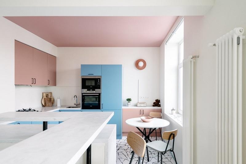 BST Thiết kế tủ bếp màu hồng