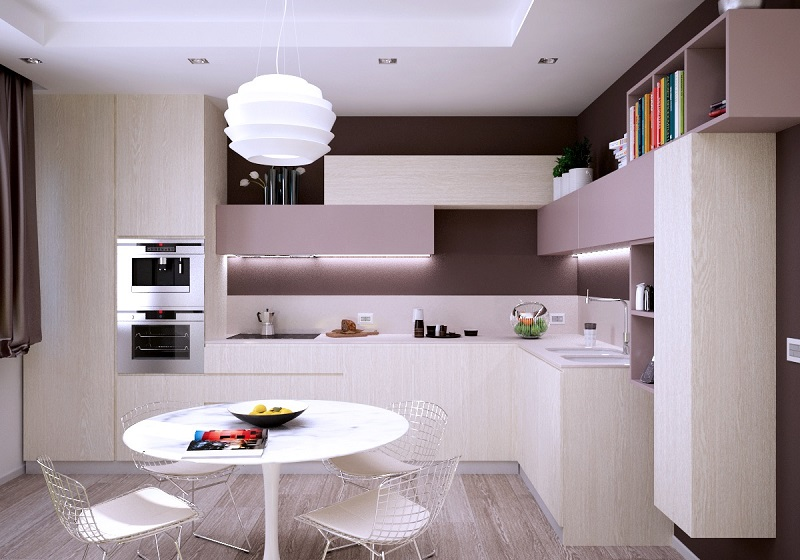 Thiết kế tủ bếp màu hồng kết hợp màu vân gỗ