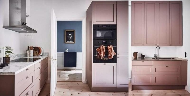Thiết kế tủ bếp cổ điển trong sắc hồng