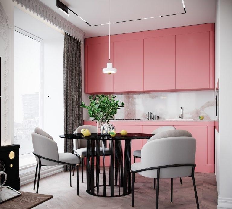BST Tủ bếp màu hồng đẹp năm 2020